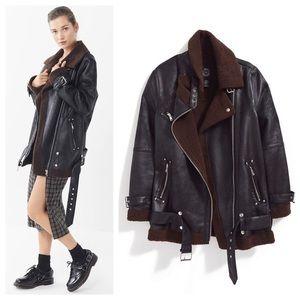 NWT UO Oversized Faux Leather Moto Jacket/Coat